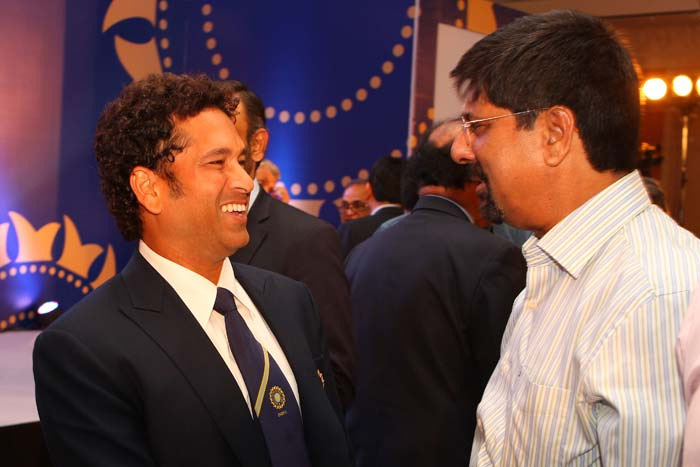 Sachin Tendulkar has a laugh with Srikkanth after the function
