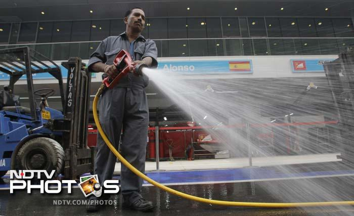Even paddocks needed to be cleaned and the staff here at the Buddh International Circuit worked hard to ensure a top-notch race.