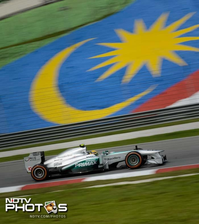 Mercedes driver Nico Rosberg of Germany takes part in the first practice session of the Formula One Malaysian Grand Prix in Sepang on March 22, 2013.