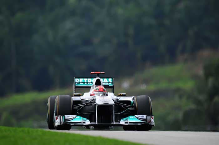 Seven-time champion Michael Schumacher will start in a disappointing eleventh position. (Getty Images)