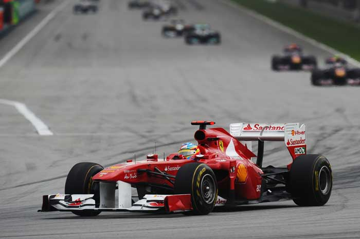 Fernando Alonso of Spain and Ferrari drives during the Malaysian Grand Prix at the Sepang Circuit. (Getty Images)