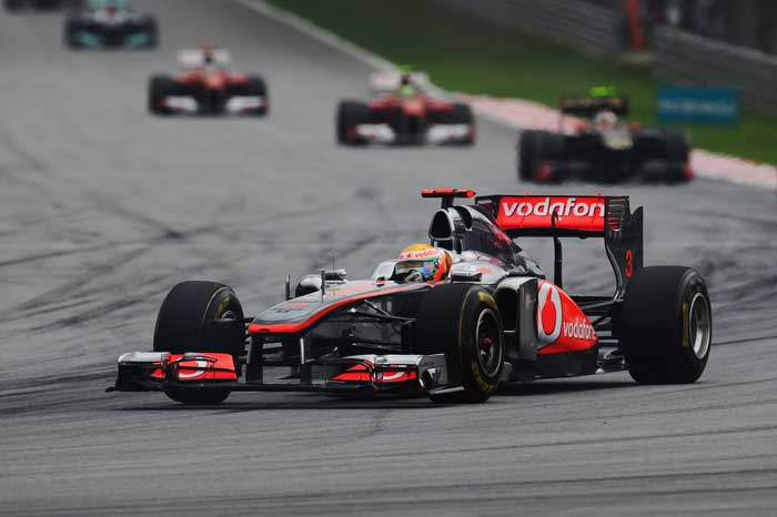 Lewis Hamilton of Great Britain and McLaren drives during the Malaysian Grand Prix at the Sepang Circuit. (Getty Images)