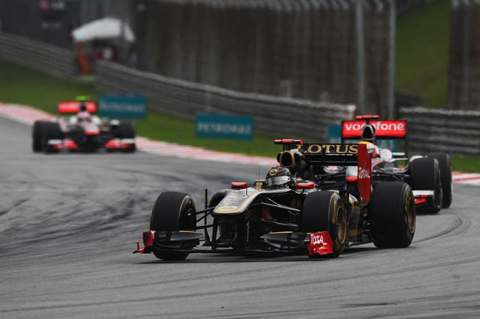 Nick Heidfeld of Germany and Renault drives during the Malaysian Grand Prix at the Sepang Circuit. (Getty Images)