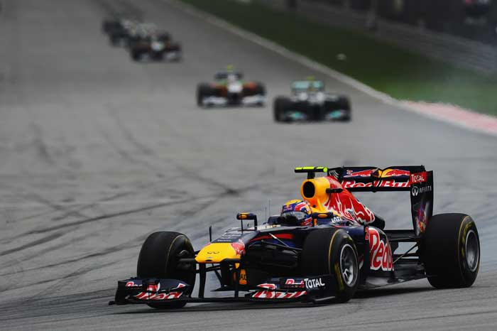 Mark Webber of Australia and Red Bull Racing drives during the Malaysian Formula One Grand Prix at the Sepang Circuit. (Getty Images)