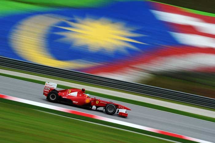 Fernando Alonso of Spain and Ferrari drives during practice for the Malaysian Formula One Grand Prix at the Sepang Circuit. (Getty Images)