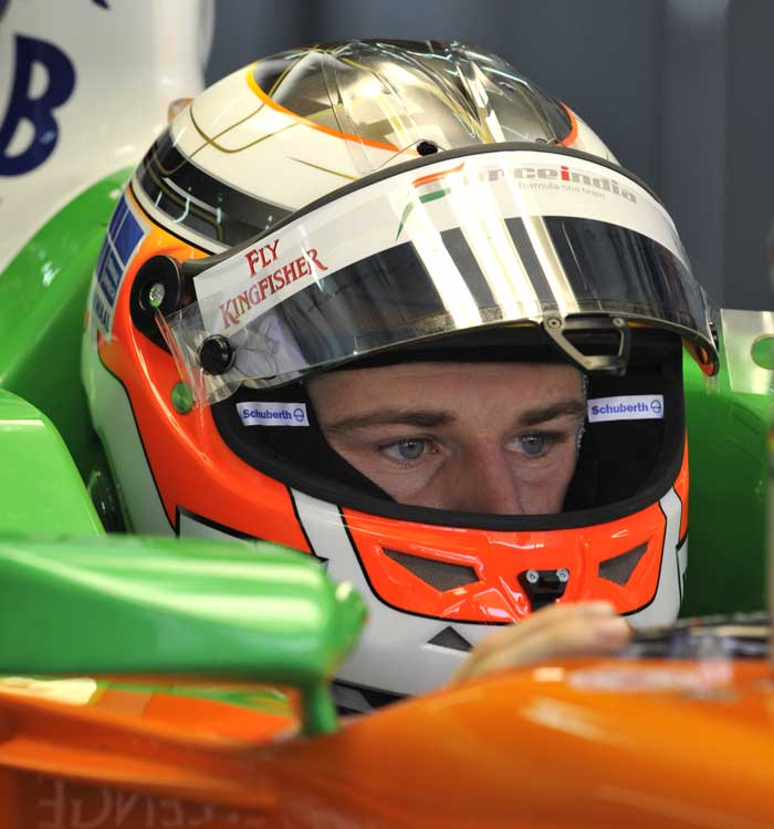 Force India-Mercedes driver Paul di Resta of Britain prepares for the first practice session of Formula One's Malaysian Grand Prix at Sepang. (AFP Photo)