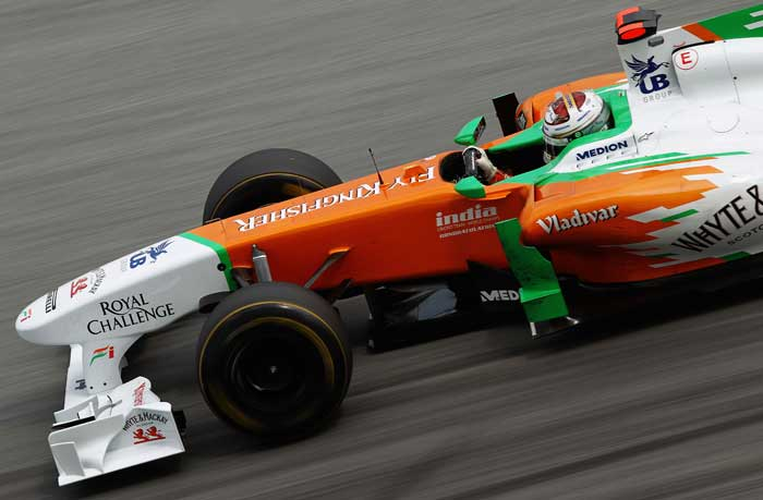 Force India's Adrian Sutil drives during the practice for the Malaysian Grand Prix at the Sepang Circuit. (Getty Images)