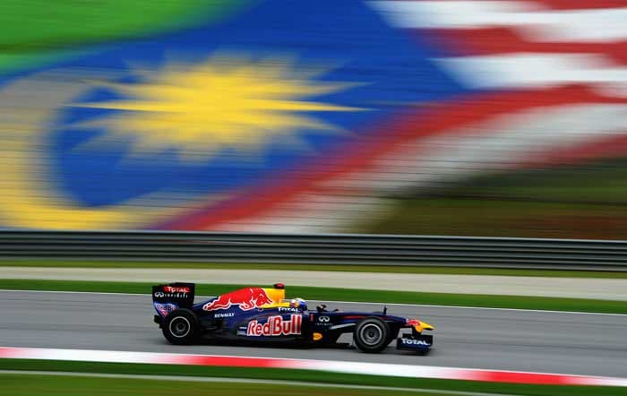 German driver Sebastian Vettel drives his Red Bull during a practice session for the Malaysian Grand Prix at the Sepang Circuit. (AFP Photo)