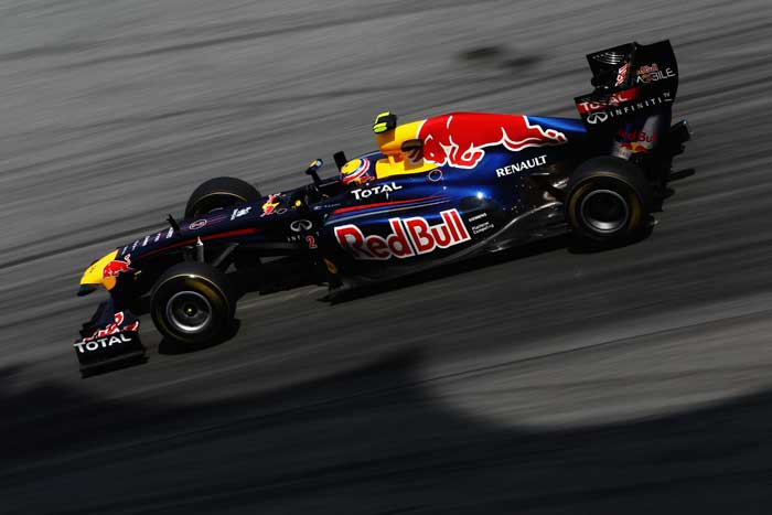 Australian driver Mark Webber of Red Bull Racing drives during practice for the Malaysian Formula One Grand Prix at the Sepang Circuit. (Getty Images)