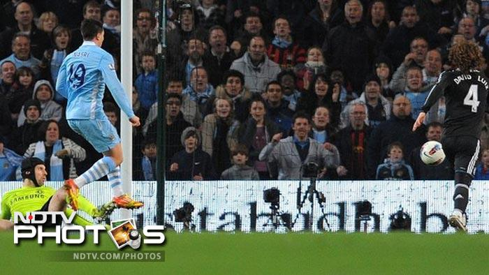 <b>Tevez returns as City down Chelsea<br><br> March 21: Manchester City 2 Chelsea 1:</b><br><br> Carlos Tevez had not played for City since his spectacular falling-out with Roberto Mancini during the Champions League loss at Bayern Munich. But the South American striker rose from the bench to help inspire a stirring 2-1 fightback after Chelsea had taken the lead through Gary Cahill.