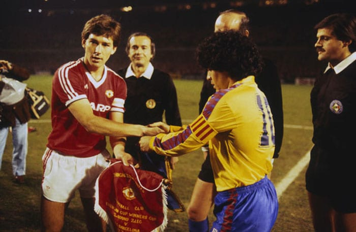 <b>Manchester United 3 Barcelona 0: </b>Trailing 2-0 after the first leg of their European Cup Winners Cup quarter-final at the Nou Camp, Manchester United were given little chance of progressing against the Catalans who featured Argentine maestro Diego Maradona.<br><br>But goals in each half from England captain Bryan Robson levelled the tie before Frank Stapleton blasted in the winner on one of the great European nights at Old Trafford.