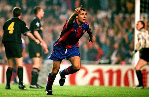 <b>Barcelona 4 Manchester United 0: </b>With United unable to field a full-strength side because of UEFA's restrictions on foreign players, Ferguson's men were given a brutal lesson by Barcelona in this Champions League group phase encounter at the Nou Camp, where Hristo Stoichkov and Romario were the tormentors in chief.<br><br>Bulgarian striker Stoichkov scored twice, while Romario and Albert Ferrer completed the scoring.
