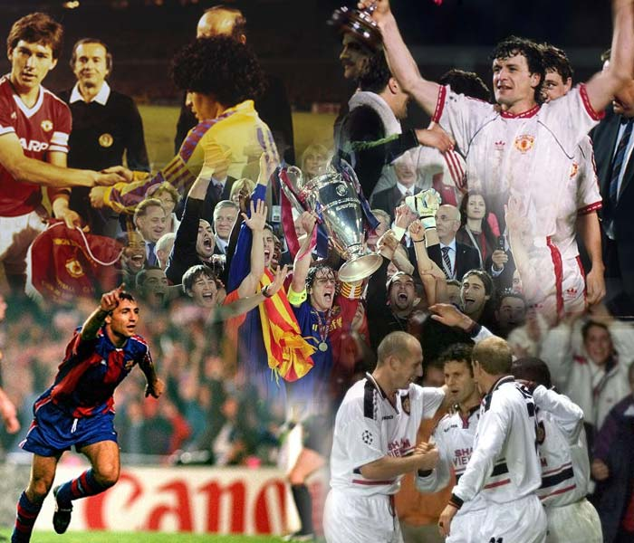 Manchester United and Barcelona face each other in the Champions League final at Wembley on Saturday. Here are five memorable previous encounters between the English and Spanish giants.