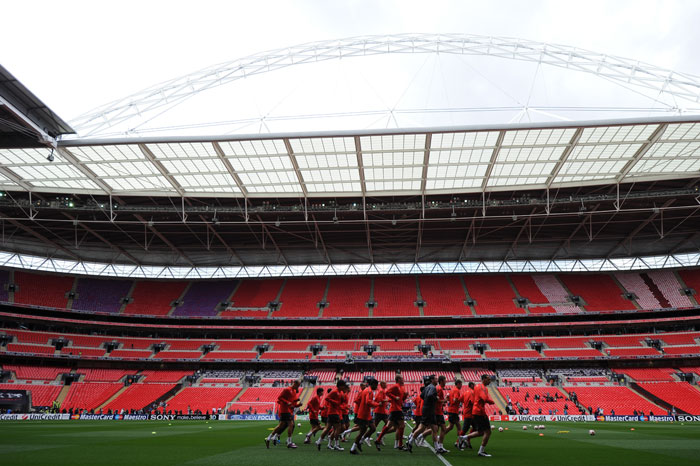 Wembley is set to host the Champions League final and the two teams hoped to get into stride as they practiced before the match day. (AFP Photo)