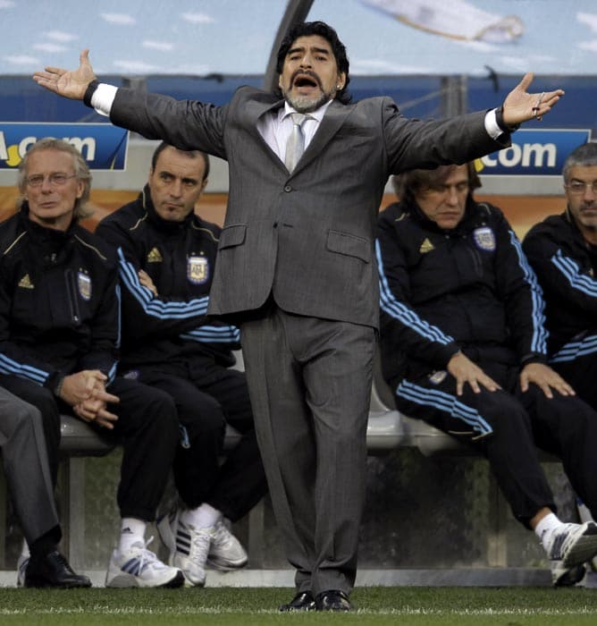 The exuberance and smile though vanished from Maradona's face as the rampant Germans tore apart the Argentine defence in the quarter-final.<br><br> Maradona tried his best to rally his troops but the young German squad exploited every chink in the Argentine armour.