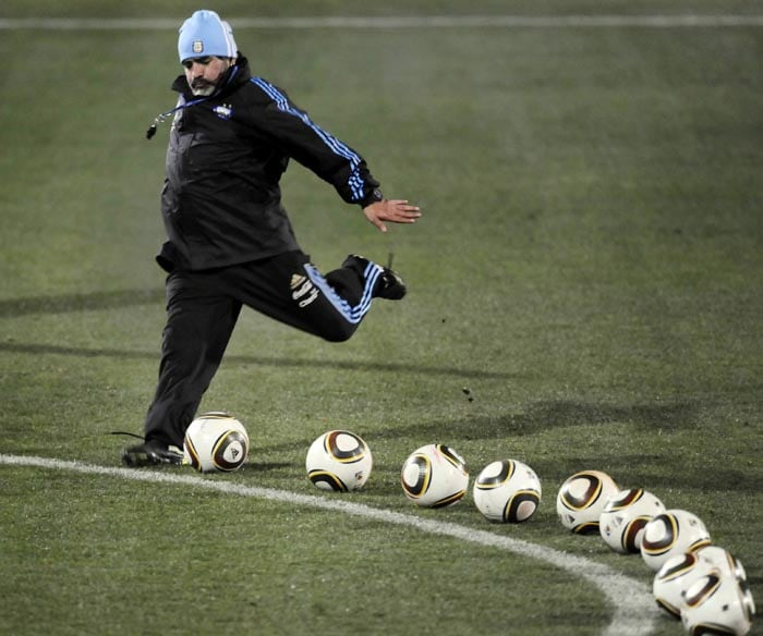 Maradona was actively involved with the team throughout the tournament. Irrespective of his bloated self, he not only guided his players during the training sessions but also took active part in the training.<br><br> He is seen here taking a free-kick during a training session before the match against South Korea.
