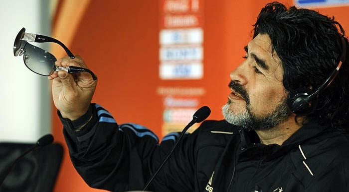 Ever since taking over as the coach, Maradona has had a turbulent relationship with the media. But there were occasions during the tournament when he spoke candidly with the press.<br><br> This was one moment as he is seen showcasing the sunglasses received as a present from his daughters for Father's Day.