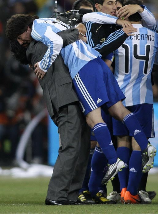 This was by far the most pleasant sight for any Argentina fan all across the globe.<br><br> Maradona hugging his play-maker Lionel Messi was truely a magnificent moment that was witnessed after the victory over Mexico. <br><br> Hailed as the best players of their respective generations, Maradona was all praise for Messi throughout the campaign and did not let go of a chance to embrace his most important player.