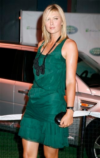 Tennis star Maria Sharapova, of Russia, arrives an auction hosted by Land Rover, Thursday, August 23, 2007, in New York, with proceeds benefiting the Maria Sharapova Foundation.