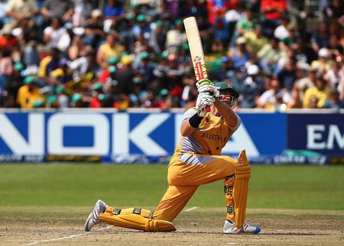 Matthew Hayden (2007): Though the mongoose had not come out then, Hayden did hit 10 sixes against New Zealand at Hamilton. His knock of 181 came of 166 balls. (Getty Images)