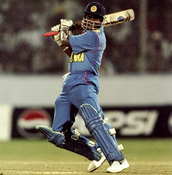 Sanath Jayasuriya (1996): The most successful batsman of the 1996 World Cup, Jayasuriya slammed 11 sixes against Pakistan the same year in Singapore to finish on a personal score of 134. (Getty Images)