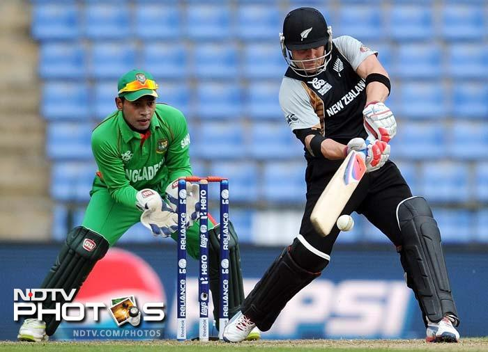 Having been invited to bat, New Zealand lost Martin Guptill early. It had little impact though on the next man who came to take guard (in pic).