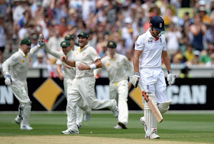 Alastair Cook, after being put in to bat by his Australian counterpart, was the first of the England batsmen to be dismissed. Cook made 27 and added 48 for the first wicket with Michael Carberry.