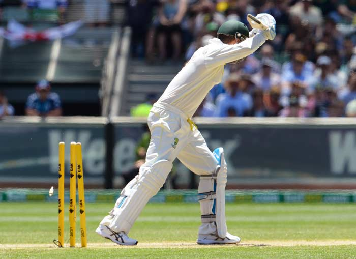 Michael Clarke misjudged the line of an Anderson ball that seamed in to him and let it go through only to hear the crackling sound of the stumps being shattered. Australia were in trouble at 62 for 3.