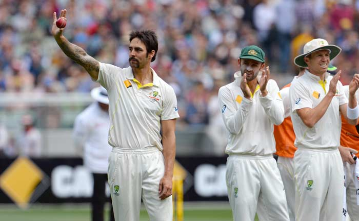 England were precariously placed at 226 for 6 after the opening day and Australia's wrecker-in-chief Mitchell Johnson continued his fiery form to record his 10th five -wicket haul. England collapsed to 255 all out on the second morning at the Melbourne Cricket Ground. All images from AFP and AP.