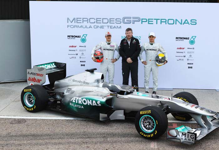 They were expected to create waves after their championship winning run in 2009, especially since Michael Schumacher joined their ranks, but that didn't happen. All eyes are now on the new car W02 to turn things around. (Getty Images)