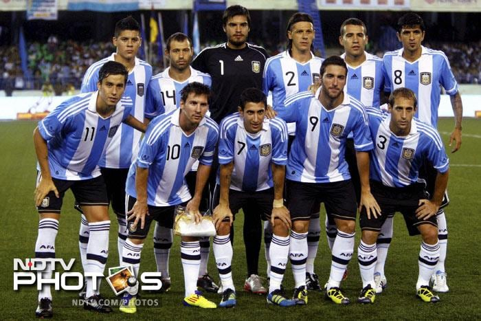 Argentina football team during a photo session before the start of their friendly match against Venezuela at Salt Lake Stadium in Kolkata on Friday. (PTI Photo)