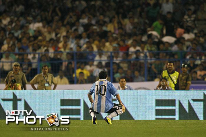 Messi reacts after missing a scoring opportunity against Venezuela. (AP Photo)