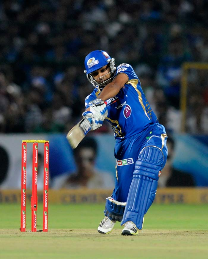 Mumbai skipper Rohit Sharma resurrected the innings and scored a responsible 44 from 37 balls with three fours and two sixes.