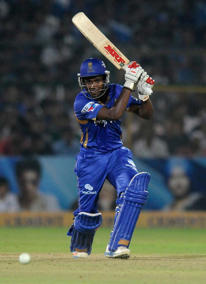 After Rahul Dravid fell early in Rajasthan's chase, 18-year-old Sanju Samson held the innings together along with opener Ajinkya Rahane. The two shared a consolidating and mature 74-run stand. Samson became the youngest player to score a fifty in both the IPL and the Champions League T20.