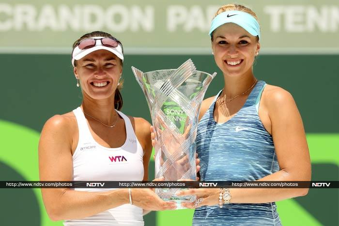 Martina Hingis shrugged off her 33 years to partner Sabine Lisicki to the Miami WTA doubles title on Sunday in only the pair's second tournament together. The Swiss veteran and her German partner downed second seeded Russians Ekaterina Makarova and Elena Vesnina 4-6, 6-4, 10-5.