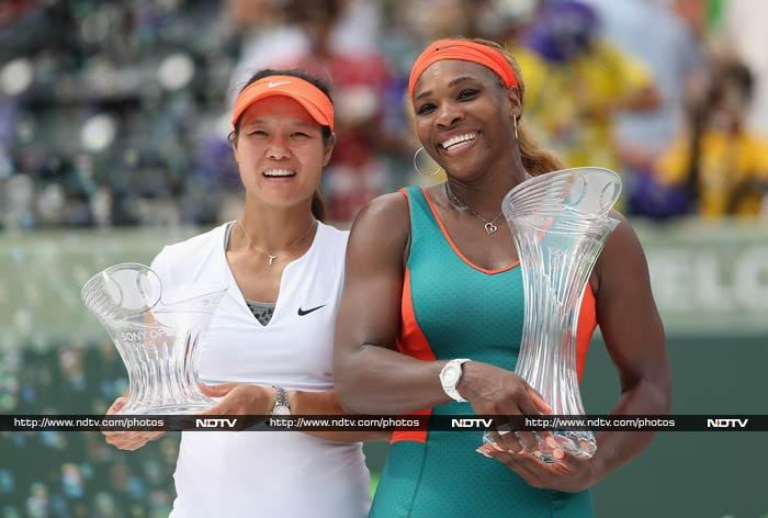 Serena Williams snapped out of her early doldrums to roar to a record seventh Miami WTA title on Saturday with a 7-5, 6-1 win over China's Li Na. In a battle of the world's top two players, the US world number one took her tally of WTA titles to 59 -- including 17 Grand Slam triumphs.