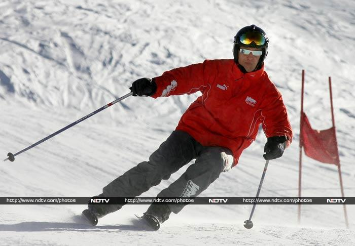Schumacher retired for the second time at the end of the 2013 season and has been spending a lot of his free time skiing.