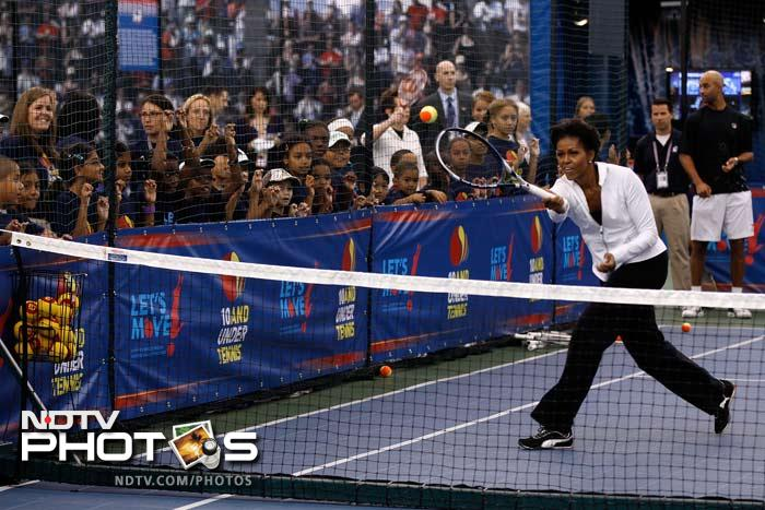 It appeared to get a lot more serious as Michelle showcased her forehand abilities on the court.
