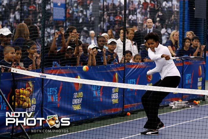 A few smashes here and a lob there and Michelle had the crowd enchanted and cheering for her tennis.