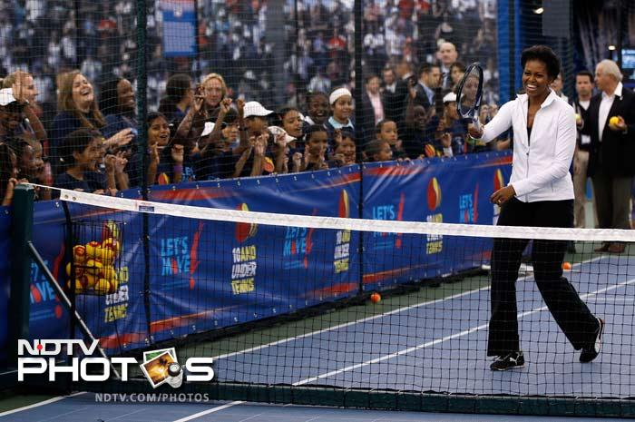 She was soon seen with a tennis racket in her hand as she took on Serena in a fun-match here.