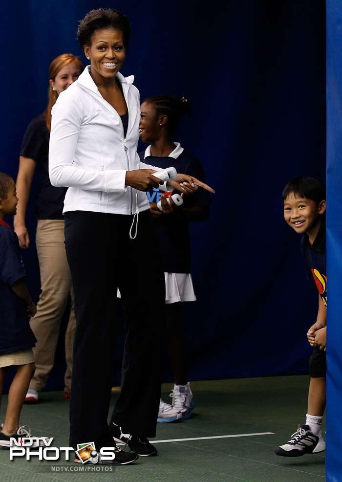 In all the limelight and the tennis action, Michelle Obama did not lose sight of the light moments. This was part of a 'Lets Move Campaign' which aims at promoting physical activity among children.