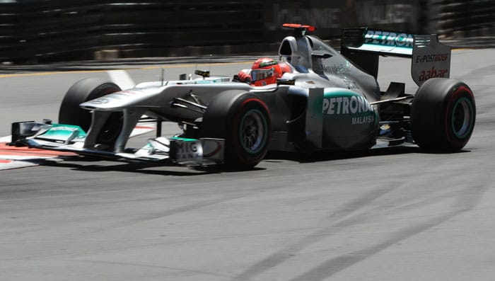 Mercedes' German Michael Schumacher drives at the Circuit de Monaco in Monte Carlo during the Monaco Formula One Grand Prix. (AFP PHOTO)