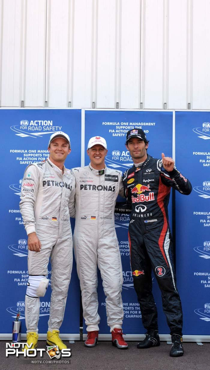 Webber (right) will be followed by Nico Rosberg in his Mercedes AMG while Lewis Hamilton moves up to the third spot in his McLaren.