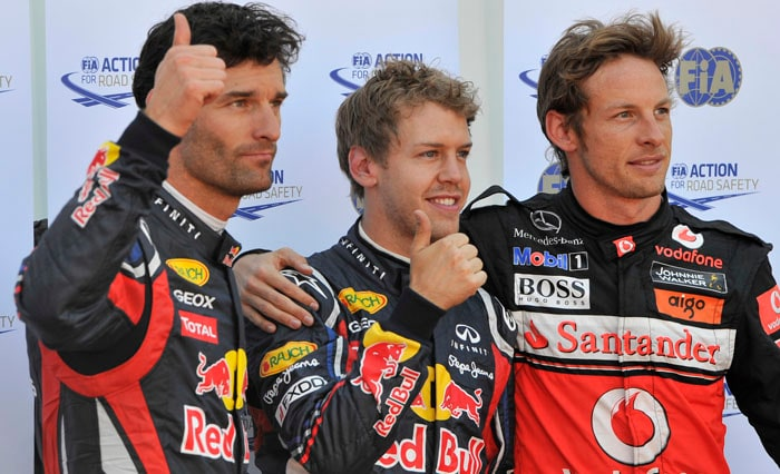 Red Bull Racing's German driver Sebastian Vettel clinched his 5th pole of the season pipping McLaren Mercedes' British driver Jenson Button and Red Bull team-mate Mark Webber at the Circuit de Monaco in Monte Carlo for the Monaco Formula One Grand Prix. (AFP Photo)