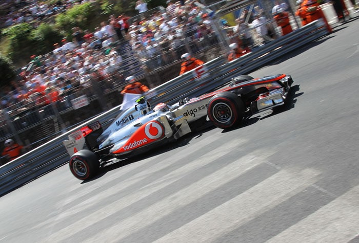 McLaren Mercedes' British driver Jenson Button came out ahead of his team-mate Lewis Hamilton, coming in at 2nd at the Circuit de Monaco in Monte Carlo after the qualifying session of the Monaco Formula One Grand Prix. (AFP PHOTO)