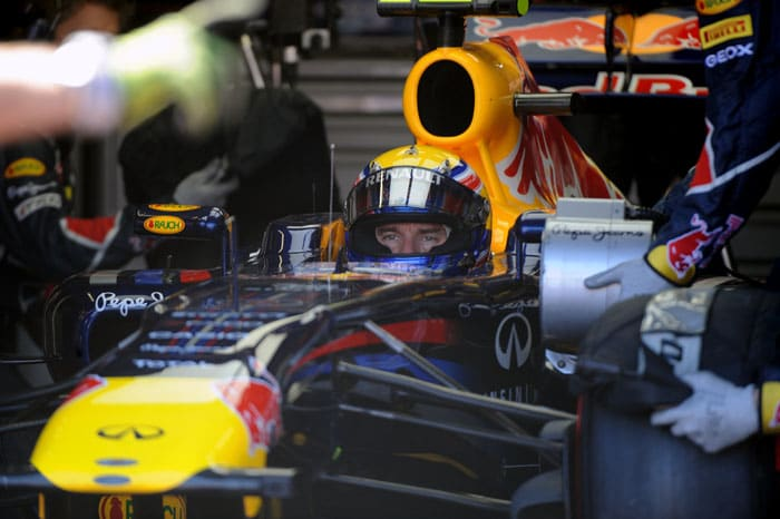 Red Bull Racing's Australian driver Mark Webber was the 3rd fastest at the Circuit de Monaco in Monte Carlo after the qualifying session of the Monaco Formula One Grand Prix. (AFP PHOTO)