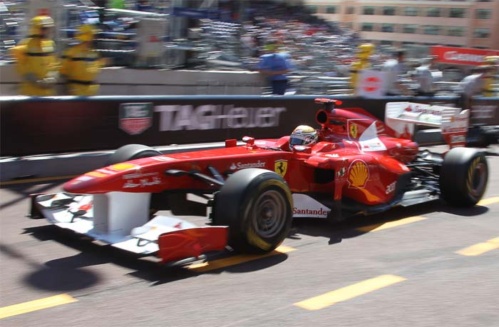 Ferrari's Spanish driver Fernando Alonso was 4th at the Circuit de Monaco in Monte Carlo after the qualifying session of the Monaco Formula One Grand Prix. (AFP PHOTO)