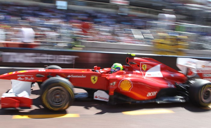Ferrari's Brazilian driver Felipe Massa finished one ahead of Lewis Hamilton on 6th at the Circuit de Monaco in Monte Carlo after the qualifying session of the Monaco Formula One Grand Prix. (AFP PHOTO)