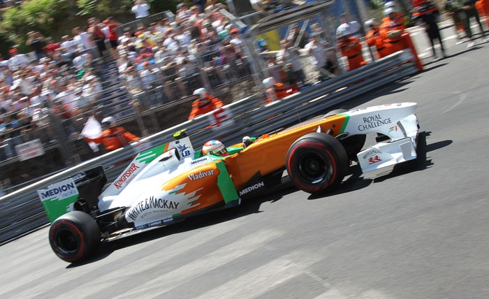 Force India's Scottish driver Paul di Resta finished 14th while team-mate Adrian Sutil qualified 15th at the Circuit de Monaco in Monte Carlo after the qualifying session of the Monaco Formula One Grand Prix. (AFP PHOTO)