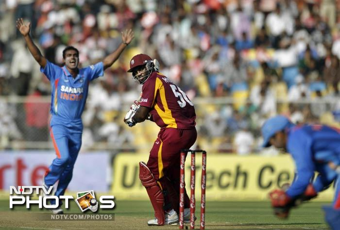 Abhimanyu Mithun cashed in on his first chance at playing in this series by dismissing Danza Hyatt (20) to reduce West Indies score to 42/2 in 13.1 overs.